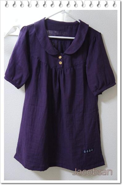 半袖ブラウス紫